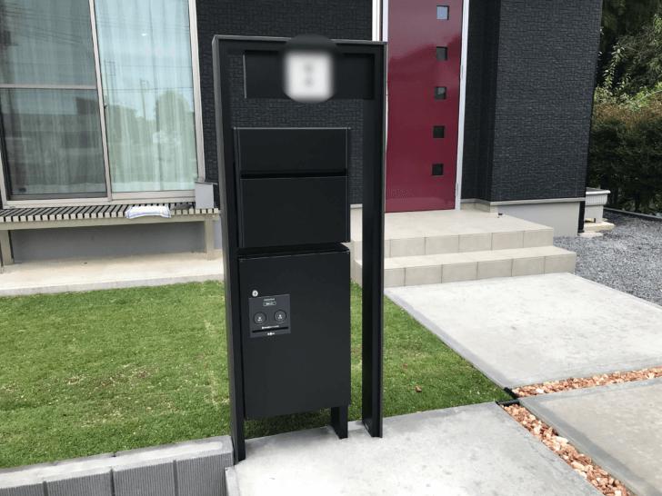 外構 機能門柱 ポスト 表札 宅配ボックス付き