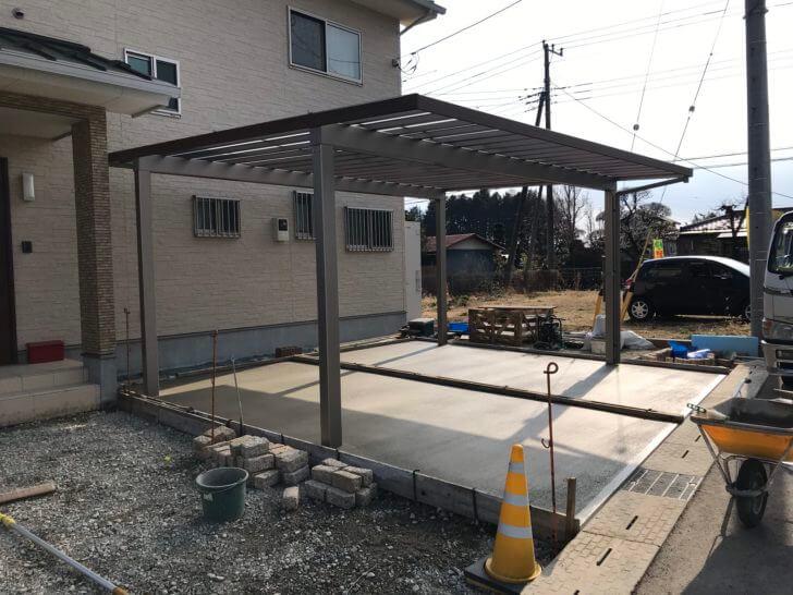 大田原市 S様邸 駐車場土間コンクリート仕上げ完了