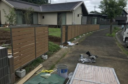 芳賀町 T様邸 ガーデン工事 フェンス取り付け